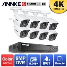 ANNKE 4K Ultra HD 8CH DVR Kit H.265+ CCTV Camera Security System 8PCS 8MP IR Outdoor Night Vision Video Surveillance Camera Kits