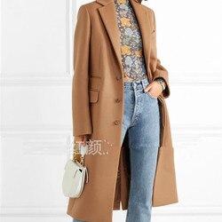 Inglaterra estilo Mulheres Casaco de lã de Inverno 2019 Elegante Casaco Quente Longo Fino Moda Pendulares Camelo sobretudo plus size r1718