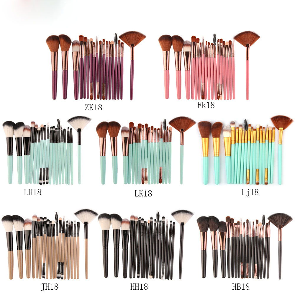 Maange 18 PCs Makeup Brush Set With Fan-Shaped Beauty Tools Hot