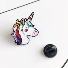 Creative Cartoon Pegasus Unicorn Brooch Pins Beautiful Cute Animal Enamel Brooches Collar Denim Decoration Jewelry For Women(China)