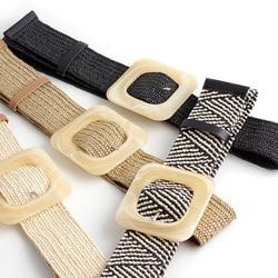 2020 Summer Women Braided Elastic Belt Round Square Wooden Buckle Vintage Bohe Straw Buckle Belt Women Knitted Belt Dress Belt