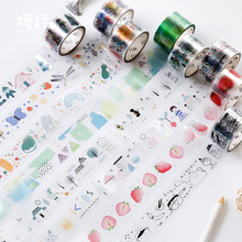 1roll Strawberries Butterfly Fox Rabbit PET Masking Tape DIY Ablum Diary Scrapbooking Label Adhesive Sticker 25mm*3m