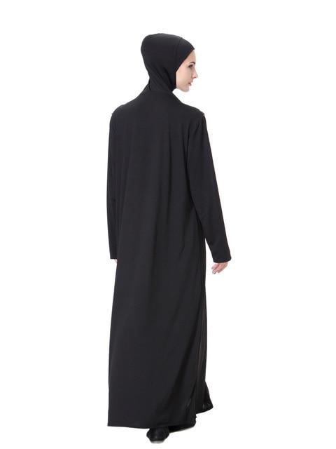 Women Prayer Garment Hijab Dress Robes With Turban Caps Bat   Black Kaftan One-Piece Arab Dubai Abaya Islamic Muslim Clothing