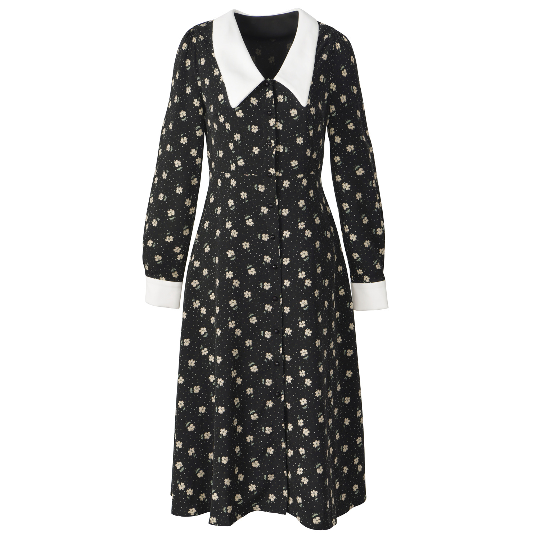 Vestido de camisa de impressão floral 2020 primavera nova manga longa midi vestidos de chiffon das mulheres do vintage branco elegante das senhoras roupas za - 5