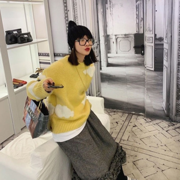 Harajuku Clouds Sweater Women Pullovers Thick Knitted 2020 Autumn Winter Round Collar Loose Oversized Jumpers