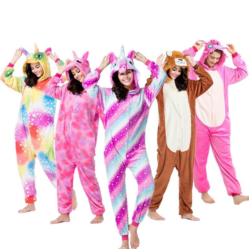 Kigurumi Adult Pajama Winter Warm Hooded Animal Sleepwear Unicorn Totoro Panda  Pokemon Stitch Cat Onesies For Adults Women Men