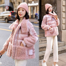 Зима, стиль, модное ультракрасное кашемировое шерстяное короткое пальто из овечьей шерсти, Женское пальто, пуховик, ткань с хлопковой подкладкой