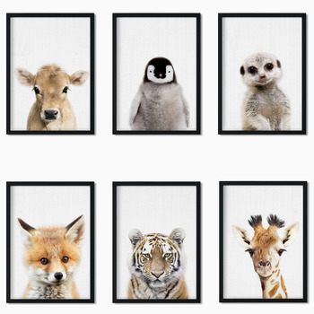 Lion/Tiger/Hedgehog/Old Cow/Penguin/Family Animal Art Deco Painting High Quality Canvas Poster kid room art o6 image