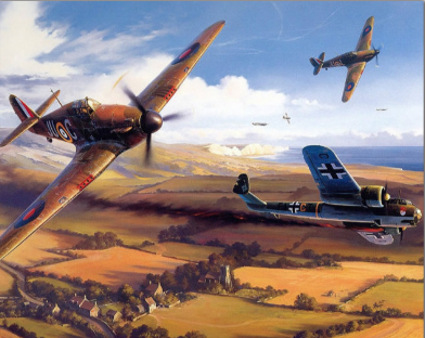 Painting By Numbers RAF Hurricane Luftwaffe Dornier CO17Z Bomber WW2 Military