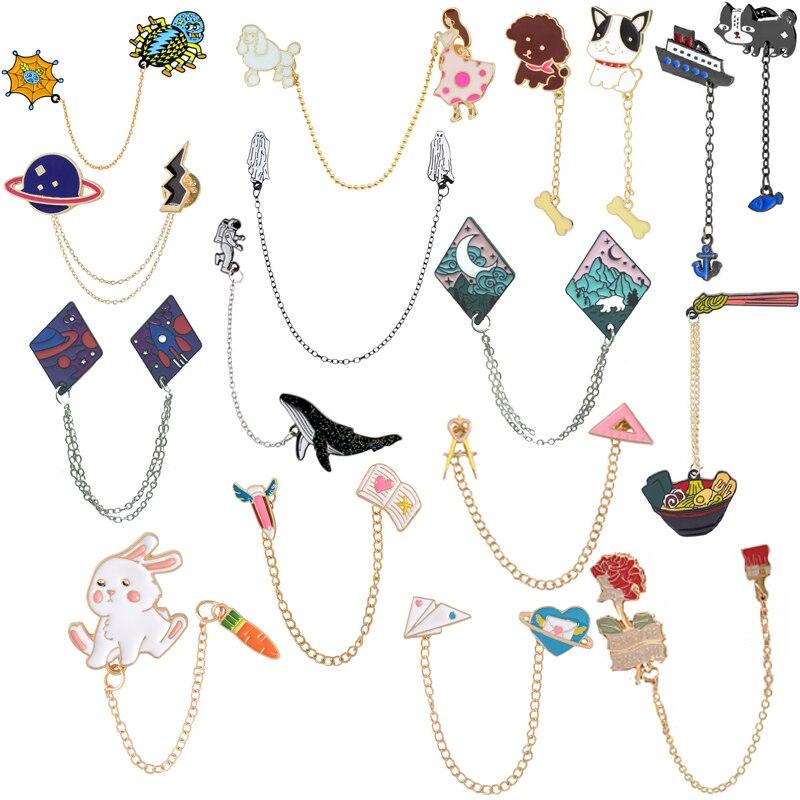 Broche araignée en métal pour fille, série de chaînes en métal, planète, chiot, lapin, bol de dauphin, avion, amour, livre de fleurs, métal émaillé