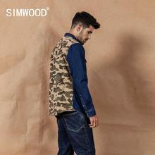 Simwood Mùa Xuân 2020 Mùa Đông Mới Ngụy Trang Paneled Áo Sơ Mi Denim Nam Patckwork Màu Sắc Tương Phản Quân Sự Hip Hop Áo Cotton 190460