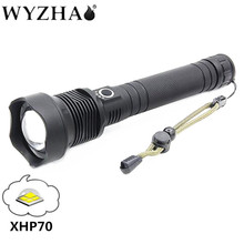Ultra bright zoom new flashlight uses xhp70 lamp bead led to support USB charging, expandable battery continuous lighting
