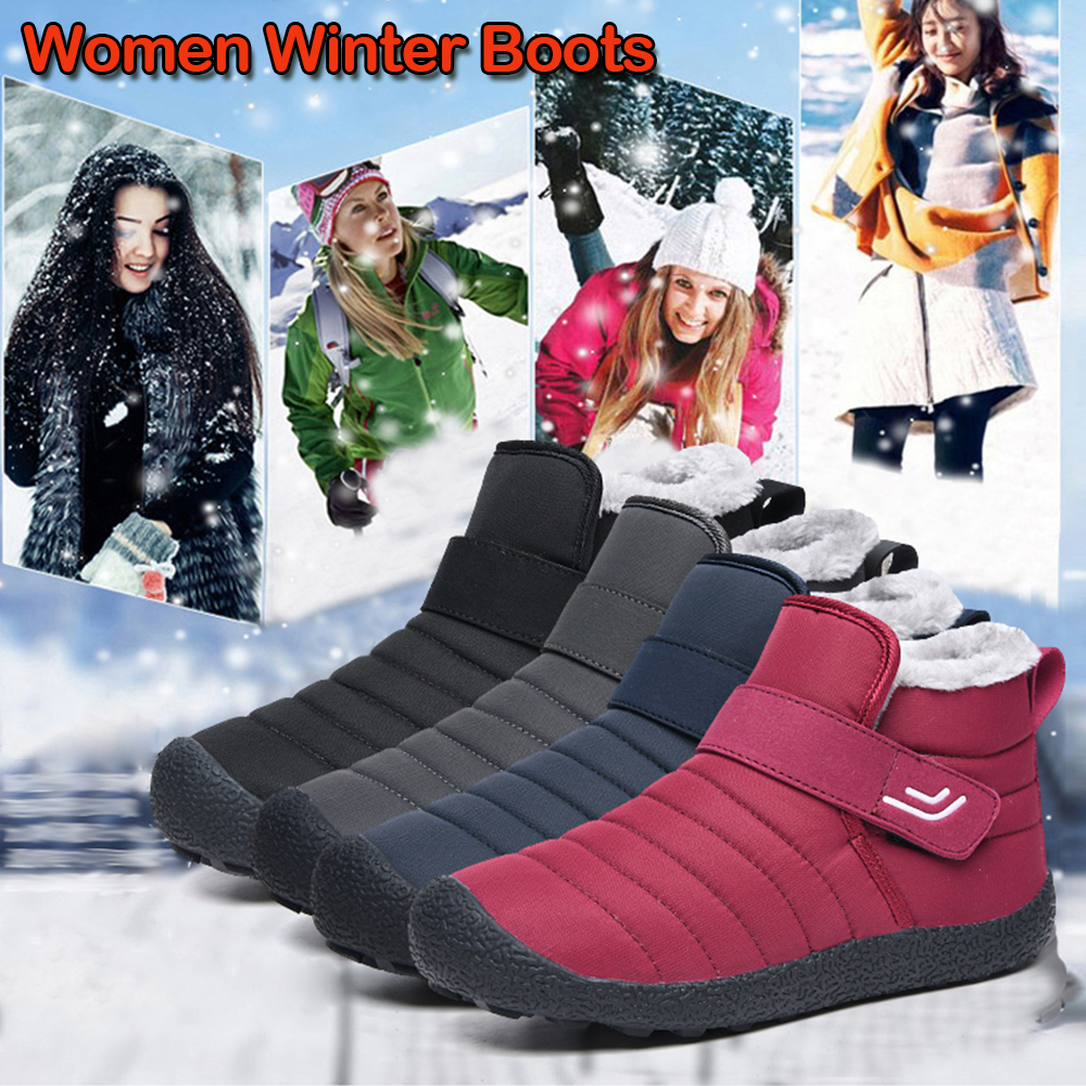 Winter Women's Snow Boots Fur Lined Ankle Boots Casual Warm Non Slip Footwear Slip On Flat Shoes Botas Mujer D30
