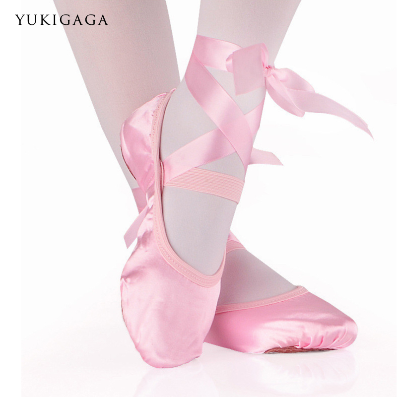 Ballet Dance Silk Dancing Shoes Pointe With Ribbon For Children Kids Girls Women Soft Flats Shoes Comfortable Fitness Slippers title=