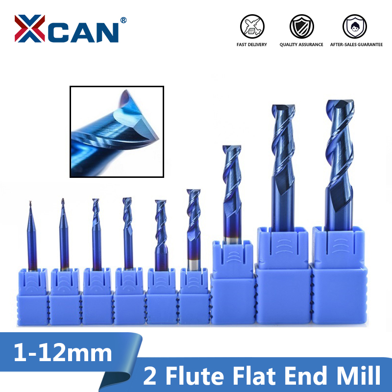 XCAN 1pc 1-12mm Nano Blue Coating 2 Flute Flat End Mill 50 Degrees Carbide End Mill CNC Router Bit End Milling Cutter