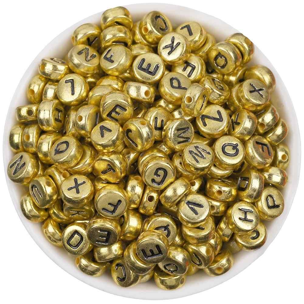 100 cái/lốc 7mm Vòng Tay Vàng/Bạc Bảng Chữ Cái/Thư Acrylic Hạt cho TỰ LÀM Vòng Tay Vòng Cổ Ngẫu Nhiên thư Tặng