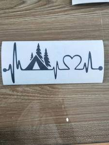 Image 4 - Tent Camper Heartbeat Lifeline Monitor Camping Decal Sticker Car Truck SUVs Motorcycle Car Styling Vinyl Decals Car products