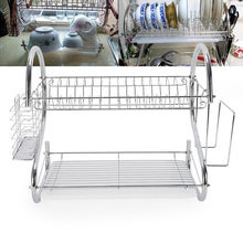 1pc Dish Rack 2 Tiers Home Kitchen Plate Bowl Cup Drying Drainer Holder Organizer Racks