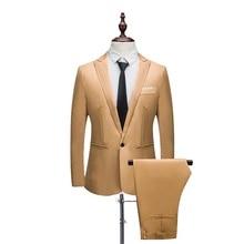 PUIMENTIUA High Quality Mens Fashion Slim Suits 6XL Men's Business Casual Groomsman 2pcs Wedding Suit Jacket Pants Trousers Sets