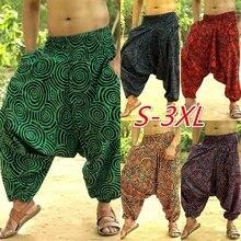 Широкие штаны в этническом стиле, повседневные мужские штаны для бега,, модные мужские шаровары, мешковатые мужские Штаны для хип-хопа