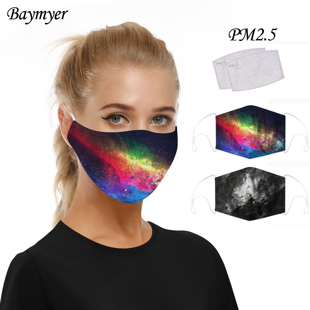 Colorful Starry Sky Print Face Mask With Replacement Filters Galaxy Adult Washable Fabric Mask PM 2.5 Protective Dust Mouth-Muff