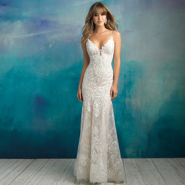 2020 New Arrive Gelinlik Spaghetti Straps V neck Backless Beading Appliques Lace Sexy Mermaid Wedding Dress Vestido Noiva Sereia