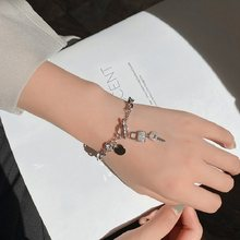 Ins Niche Design Style College Style Bracelet Female Star with Key Lock Pendant Fashion Hundred Matching Accessories