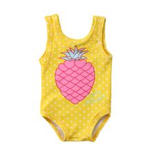 Toddler Kid Baby Girls Pineapple Print Swimwear Toddler Swimsuit Beachwear Baby Girls Clothing Children Bathing Suit Summer tanie tanio Pasuje prawda na wymiar weź swój normalny rozmiar Dziewczyny COTTON Stałe
