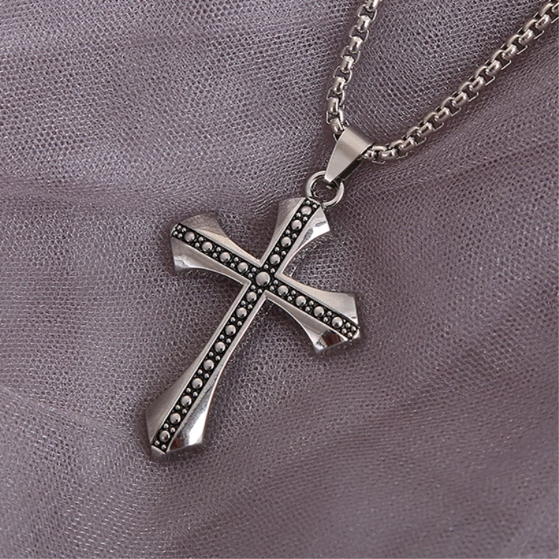 Classic Rhinestone Pendant Sliver Men Crystal Jesus Cross Pendant Long Necklace Activities Male Gift Jewelry Accessory 60Cm