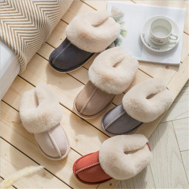 JIANBUDAN Plush warm Home flat slippers Lightweight soft comfortable winter slippers Women's cotton shoes Indoor plush slippers 4