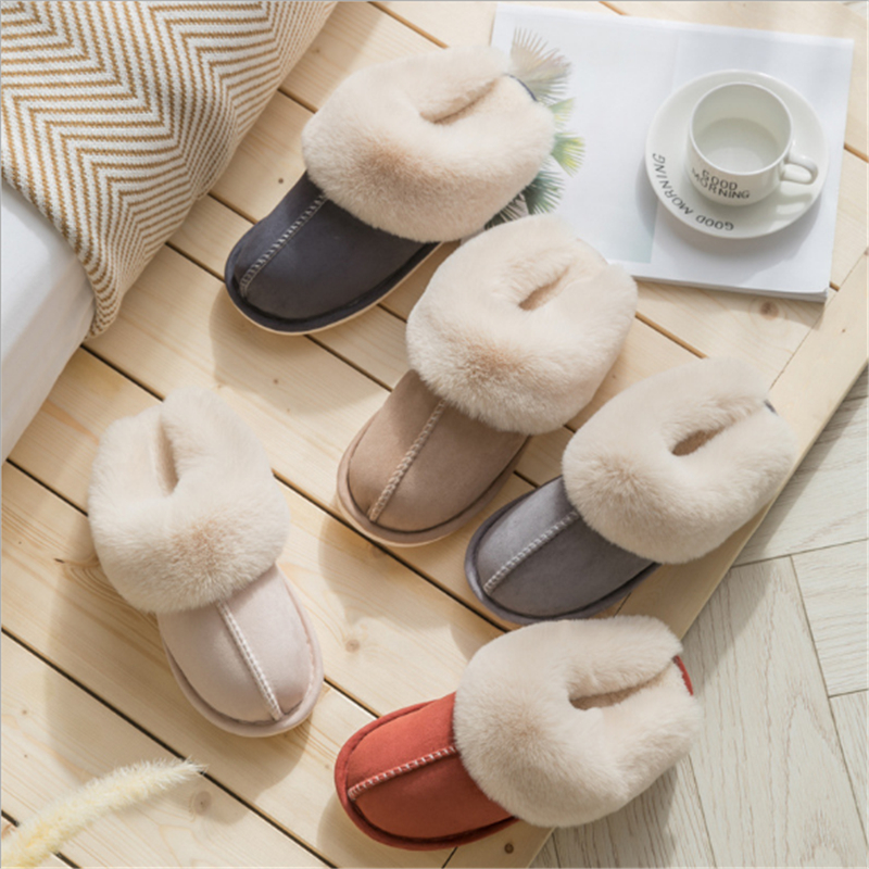 JIANBUDAN Plush warm Home flat slippers Lightweight soft comfortable winter slippers Women's cotton shoes Indoor plush slippers 5