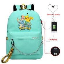 Mochila Pokemon Pikachu Casual Backpack Womens USB Charging Bag, Girl, Boy Travel Backpack, Laptop