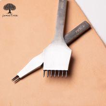 Junetree หนังเครื่องมือการรักษางานฝีมือ DIY เย็บ Punch Pricking เหล็ก 3 มม./4 มม.ระยะห่าง 2 + 7 PRONG