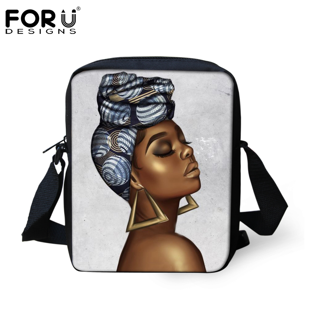 FORUDESIGNS Fashion Unisex African Girls Print Shoulder Bag Book Mini Mochial  Stylish Sling Bags For Boys Girls