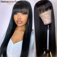 Rebecca brazylijskie proste włosy ludzkie peruki z grzywką pełne maszyny wykonane kolorowe peruki ludzkie włosy dla czarnych kobiet długie naturalne peruki tanie tanio Rebecca fashion CN (pochodzenie) Remy włosy Brazylijski włosy Średnia wielkość Wszystkie kolory Full Machine Made Human Hair Wig With Bangs