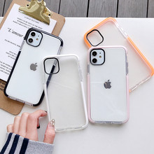 Helder Shockproof Telefoon Case Voor Iphone 11 Pro X Xr Xs Max 7 8 6 6 S Plus Snoep Kleur frame Zachte Siliconen Transparant Back Cover(China)