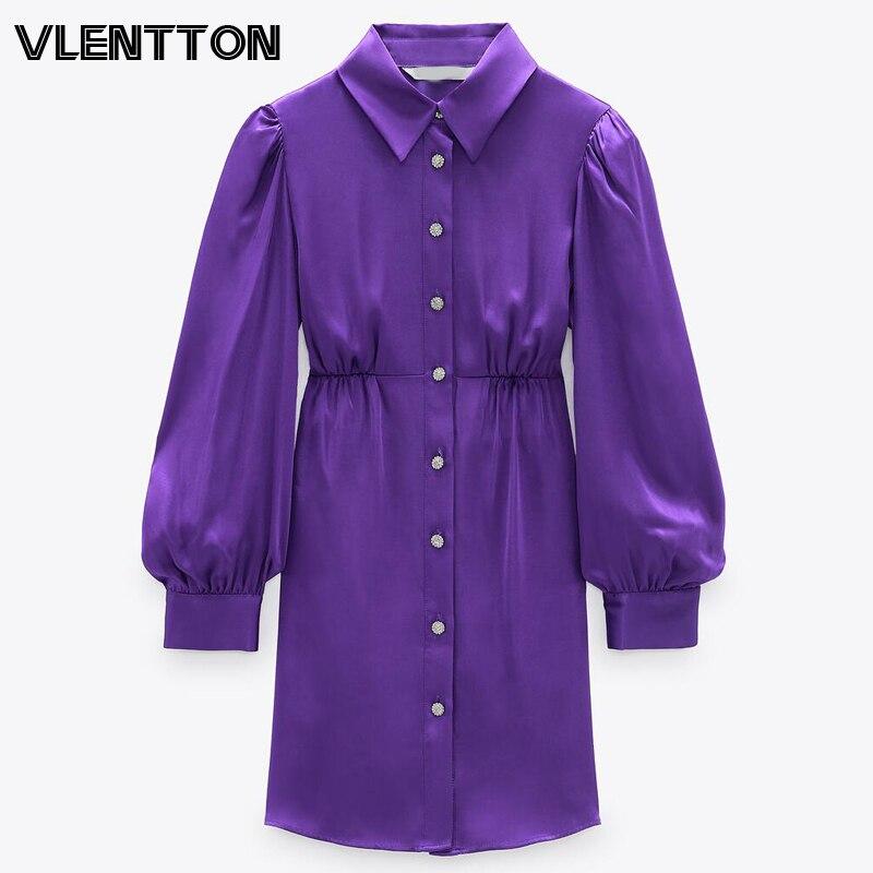 Женское винтажное фиолетовое мини платье с пуговицами и бриллиантами