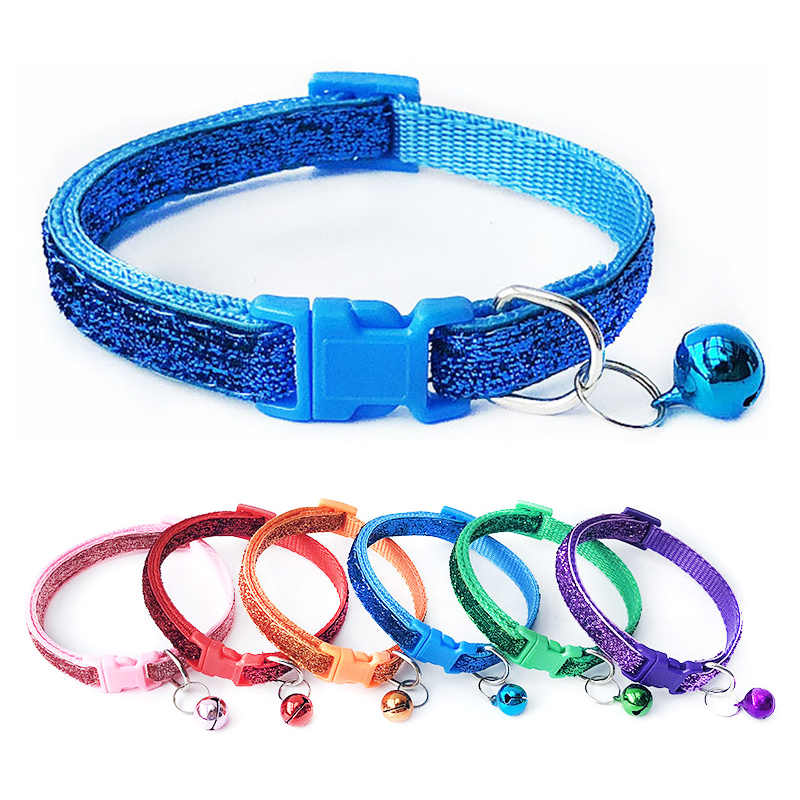 Nuovo 1PC Pet Collare di Nylon Regolabile Con Fibbia Pet Dog Gatti Gattino Cravatta Color Shine Con Campana Collari