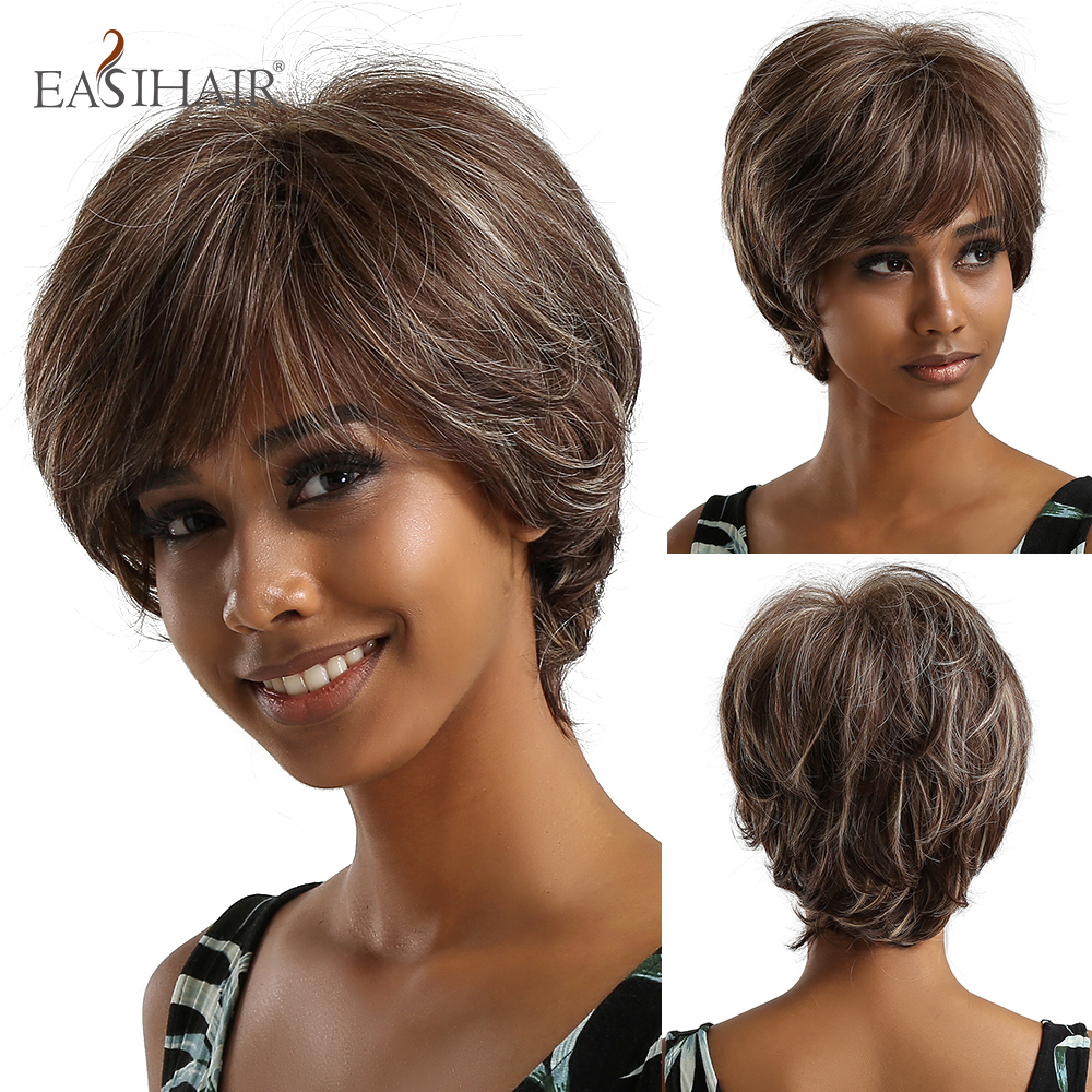 EASIHAIR Short Wavy Brown Grey Mixed Synthetic Hair Wigs For Women Daily Wigs With Bangs Ladies Heat Resistant Natural Hair Wig