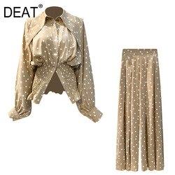 DEAT 2020 mode frauen kleidung drehen-unten kragen laterne ärmel tupfen hohe taille shirt und volle länge hosen set WL59404L