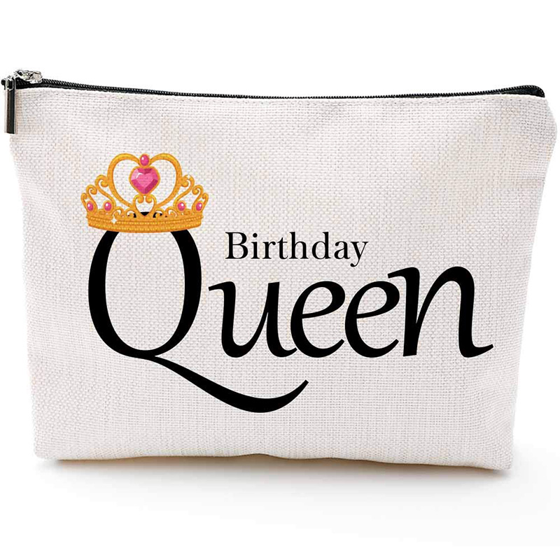 Birthday queen sash sleep mask Makeup Cosmetic bag 16th 18th 21st 30th 40th 50th 60th Party Decoration Supply Friend Mother gift image