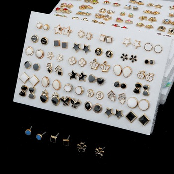 36/18/12Pairs Earrings Mixed Styles Rhinestone Sun Flower Geometric Animal Plastic Stud Earrings Set For Women Girls Jewelry