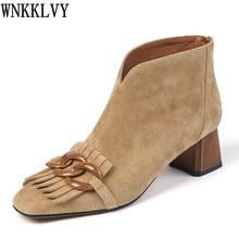 Elegancki Fringe Chain kostki Botas kobiety Kid Suede Square Toe gruby obcas buty jesień komfortowe światło krótkie buty kobieta