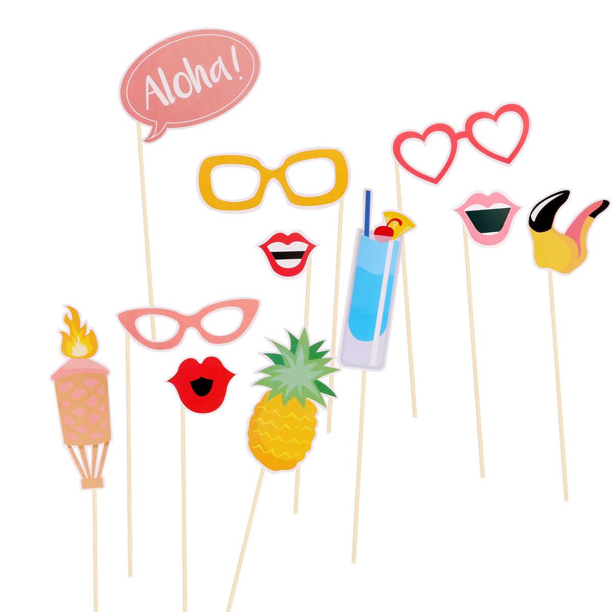 21 個フラミンゴハワイテーマ夏パーティーフォトブースの小道具キット DIY ルアウ用品のためにビーチパーティーの装飾