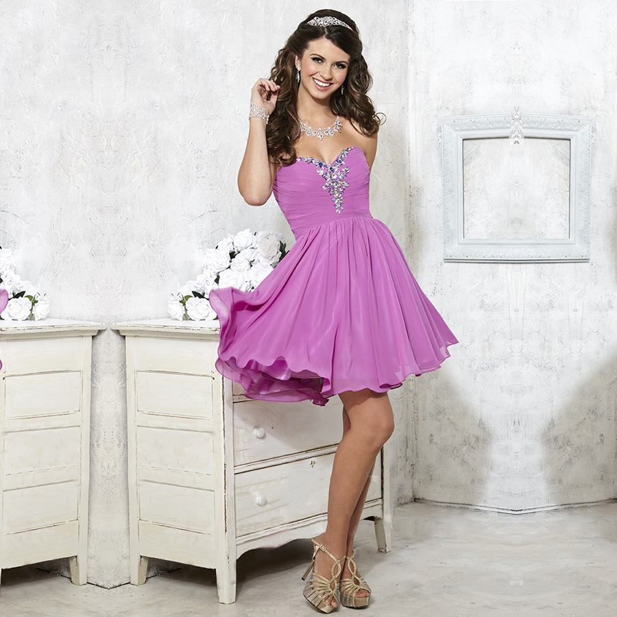 Sexy Designer Short Mini A Line Beading Chiffon Purple Homecoming Custom Fashionable Vestido De Noiva 2018 Bridesmaid Dresses