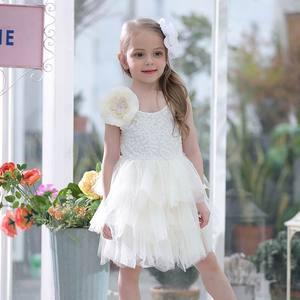 Image 3 - Summer Lace Girls Dress Gauze Kids Princess Dresses for Girl Vest Dress Party Dress Baby Clothes E16900
