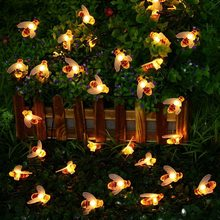 Solar Powered Bee น่ารัก Led String Fairy Light Bee รั้วสวนกลางแจ้ง Patio Christmas Garland Lights(China)
