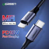 Ugreen MFi USB C câble de foudre pour iPhone 11 Pro XS X 18W PD chargeur rapide câble de données de USB type C pour Macbook iPad Pro USB C ord