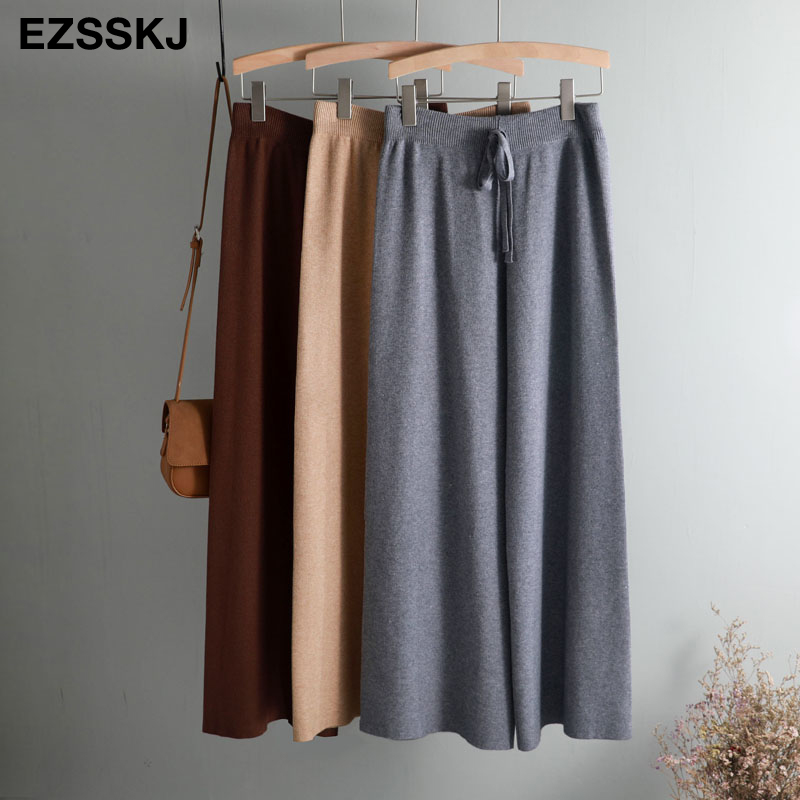 2019 autumn winter new THICK casual straight pants women female drawstring loose knitted wide leg pants casual Trousers 43