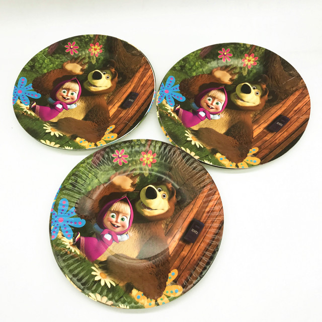 Masha And Bear Theme Kids Girls Favor Birthday Pack Event Party Cute Cups Plates Masks Baby Shower Disposable Tableware Supplies 4